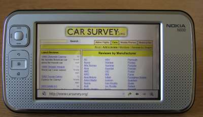 Carsurvey.org on an N800